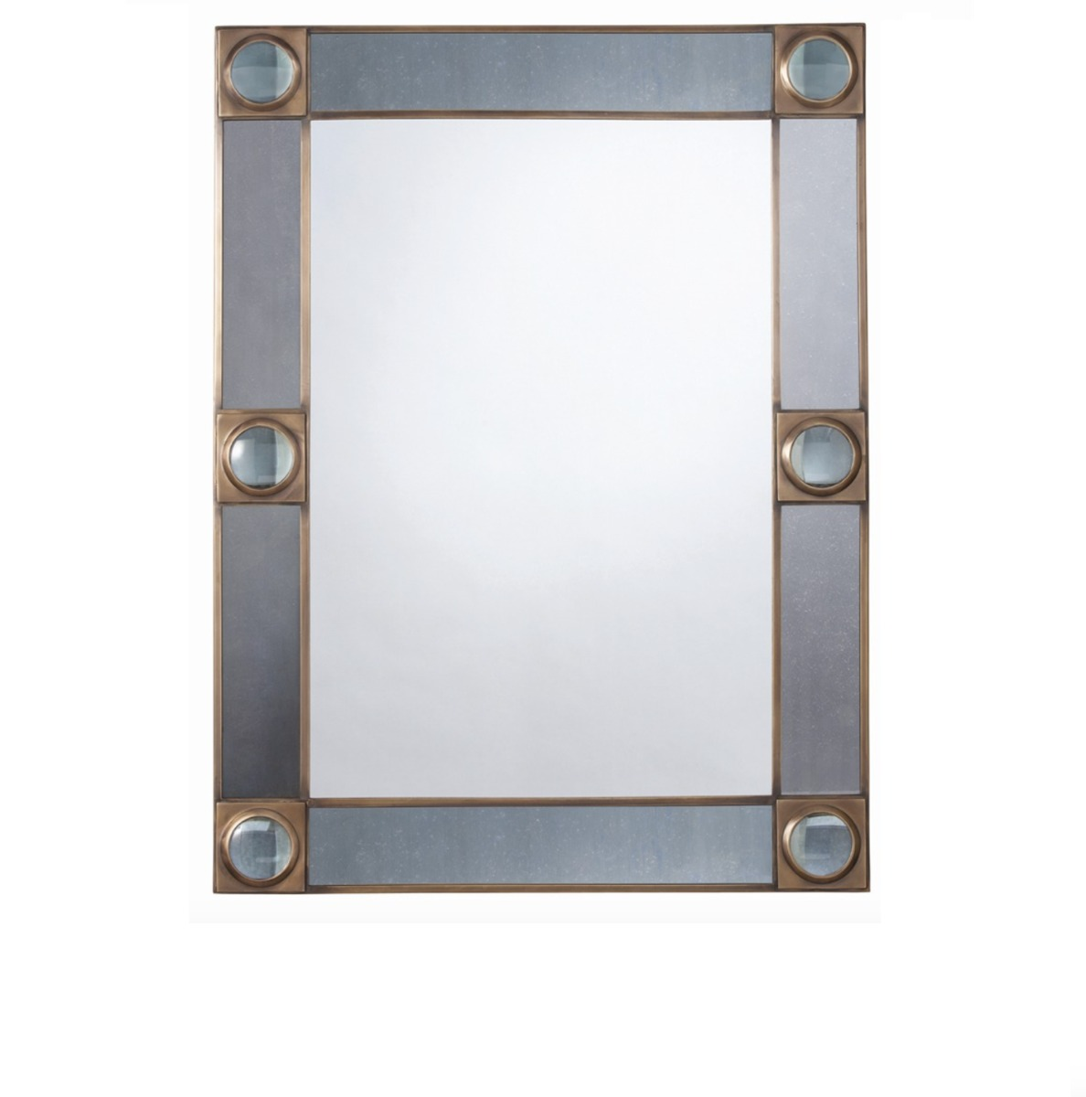 Designer Home luxury mirror with an industrial style with glass detailing at Luxuria London