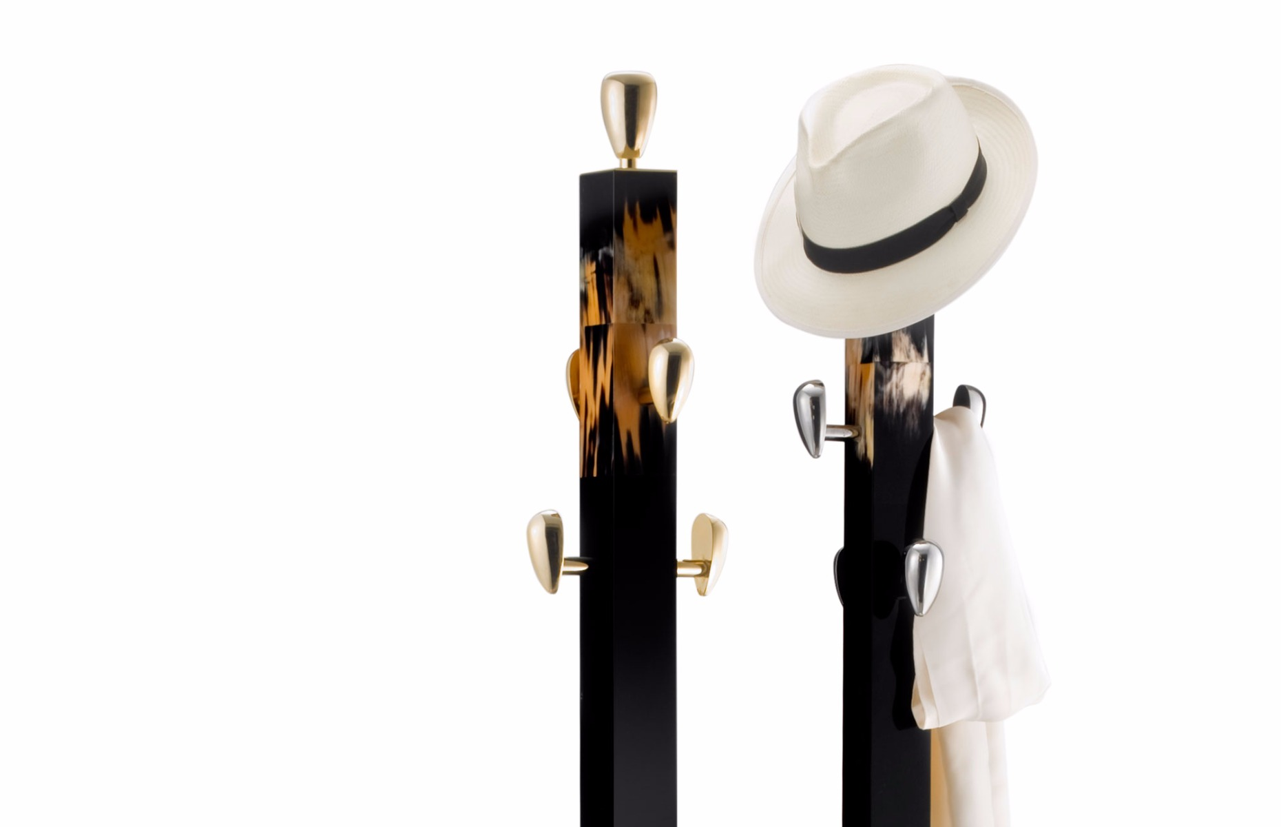 beautiful luxury marble coat racks wither gold and silver bases by Luxuria London